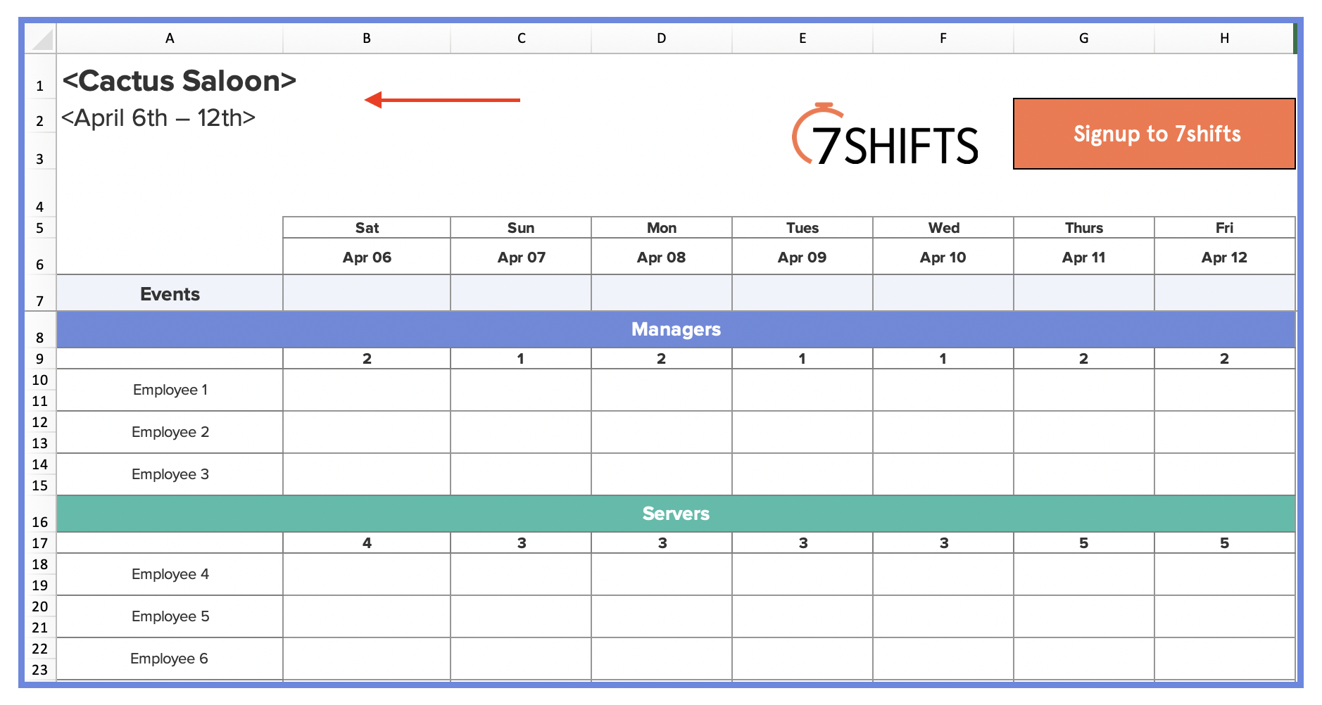 How To Make A Restaurant Work Schedule With Free Excel Template