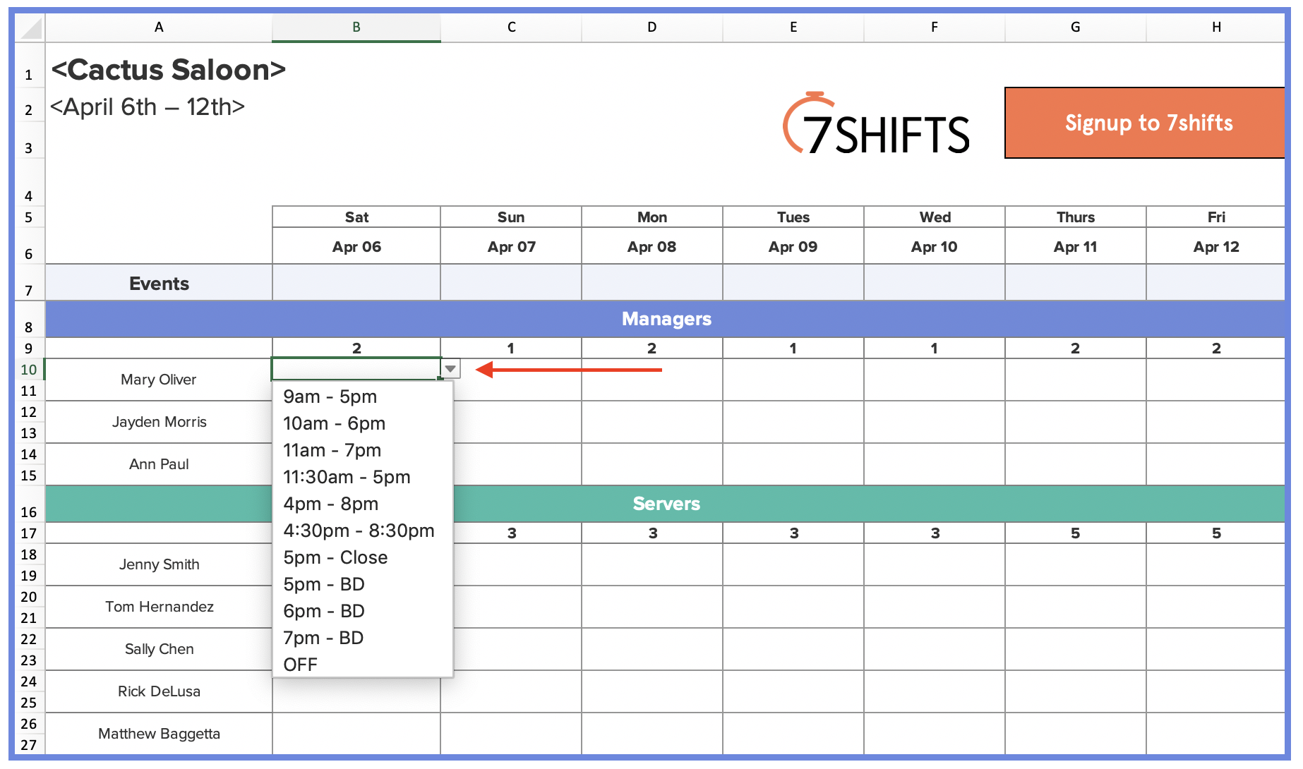 How to Make a Restaurant Work Schedule (with Free Excel ...