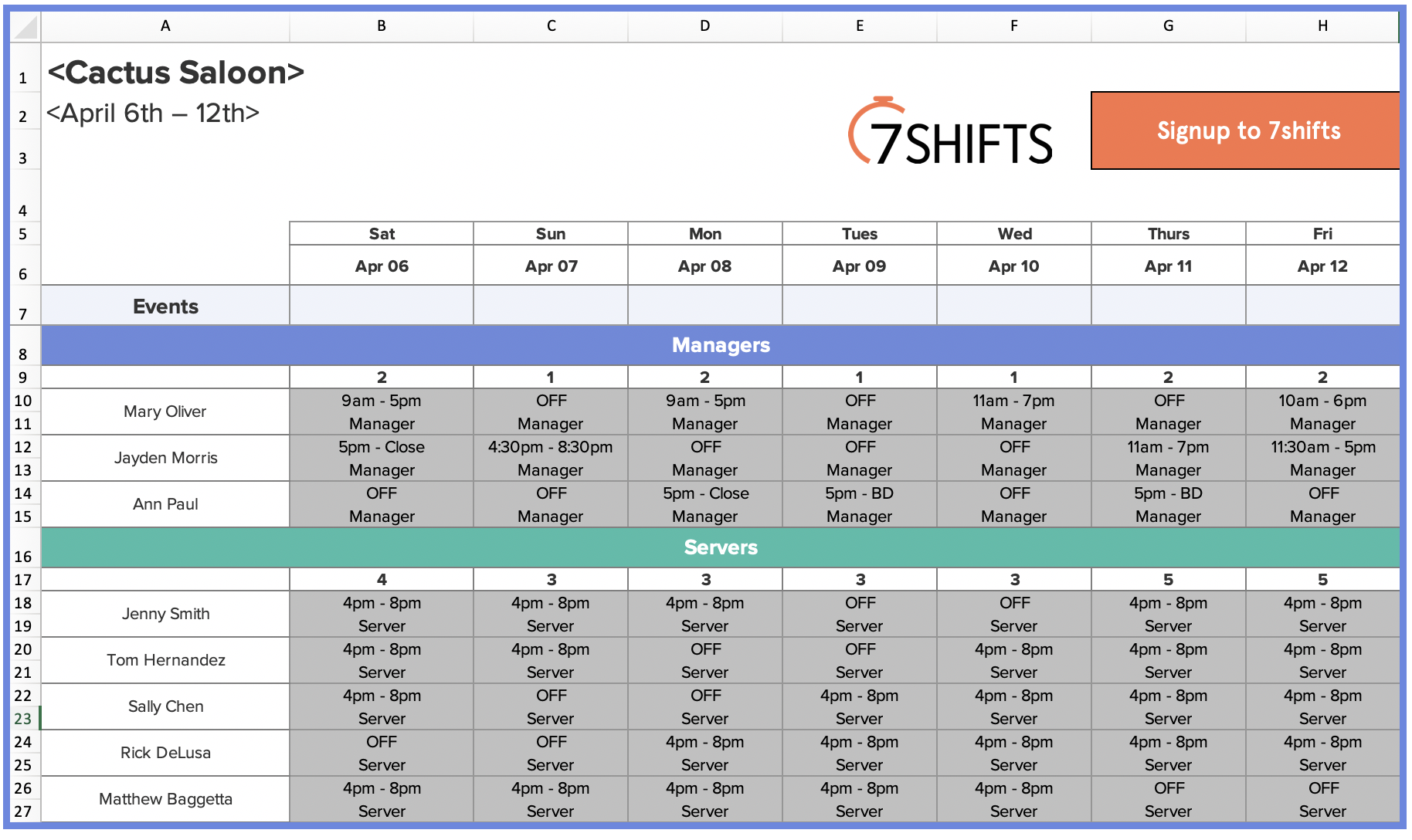 How To Make A Restaurant Work Schedule With Free Excel Template 7shifts