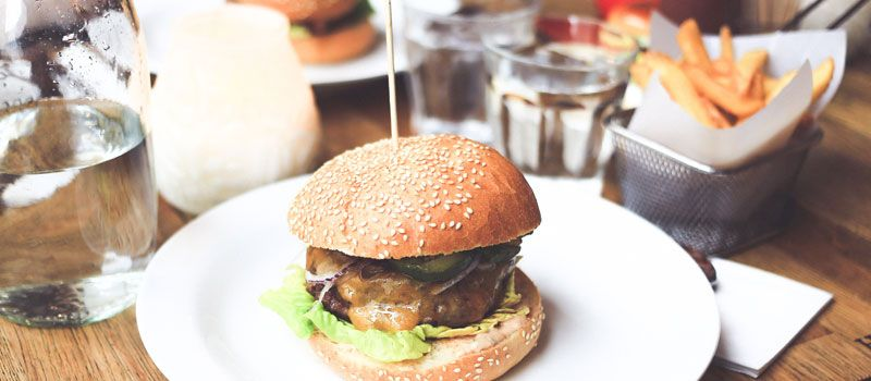 A restaurant burger and fries