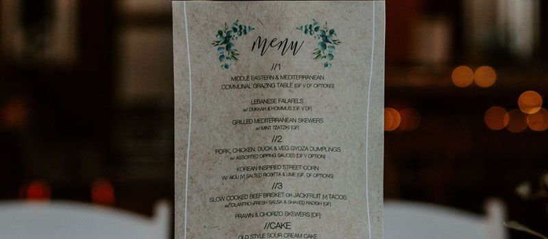Upclose image of a minimalist restaurant menu
