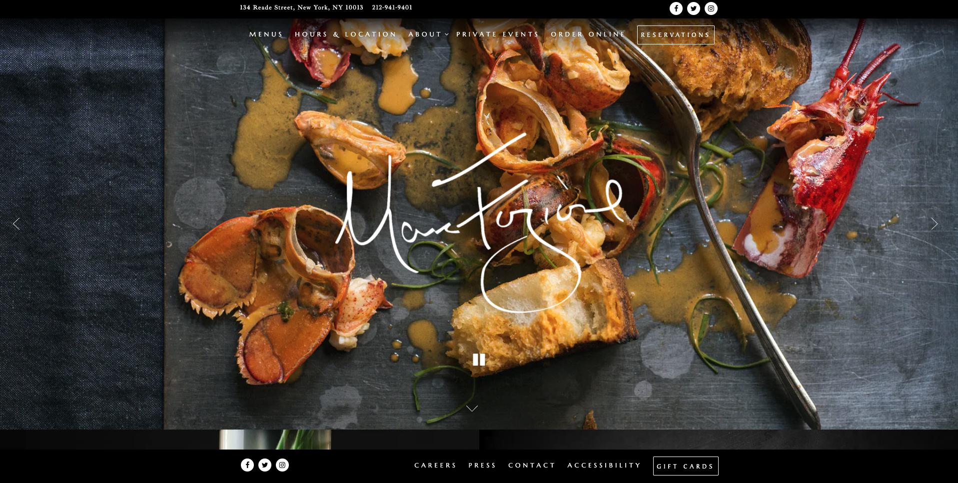 Marc Forgione website screenshot