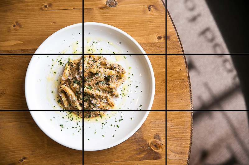 rule of thirds for food photography