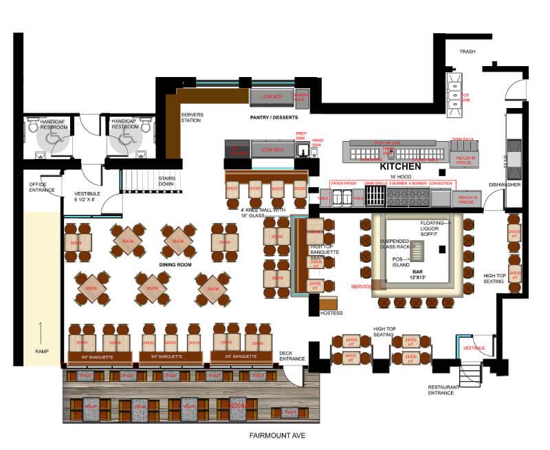 Complete full service restaurant floor plan