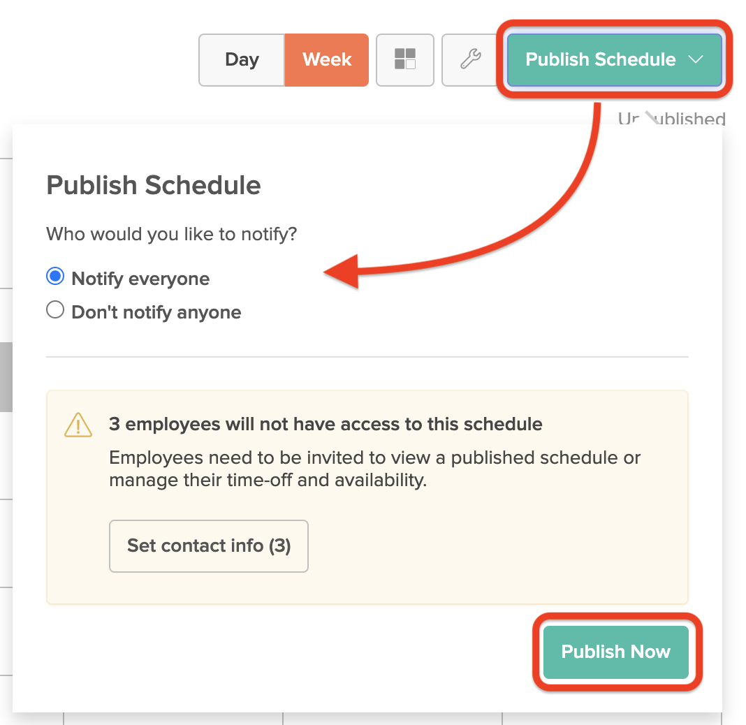 Window to publish the schedule for employees