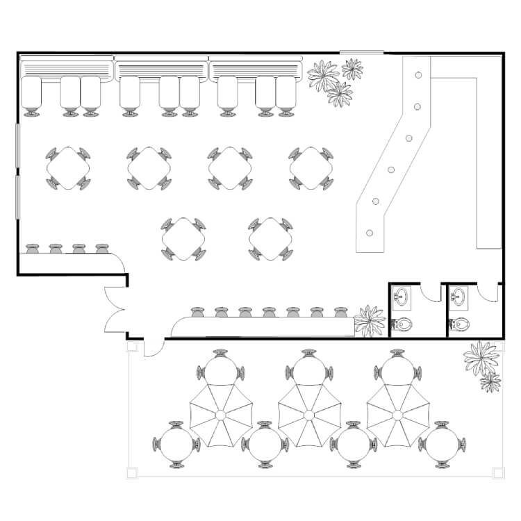 Coffee Shop Floor Plan design on paper
