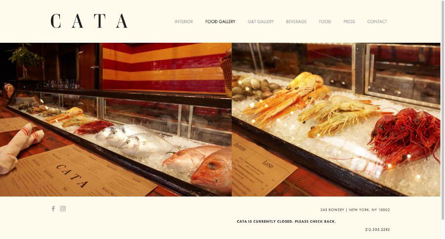 Cata restaurant website screenshot