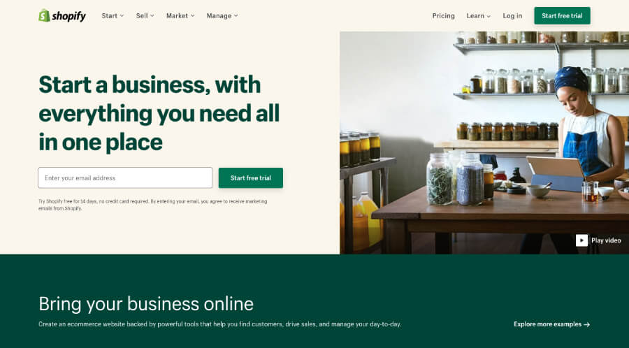 Shopify website screenshot