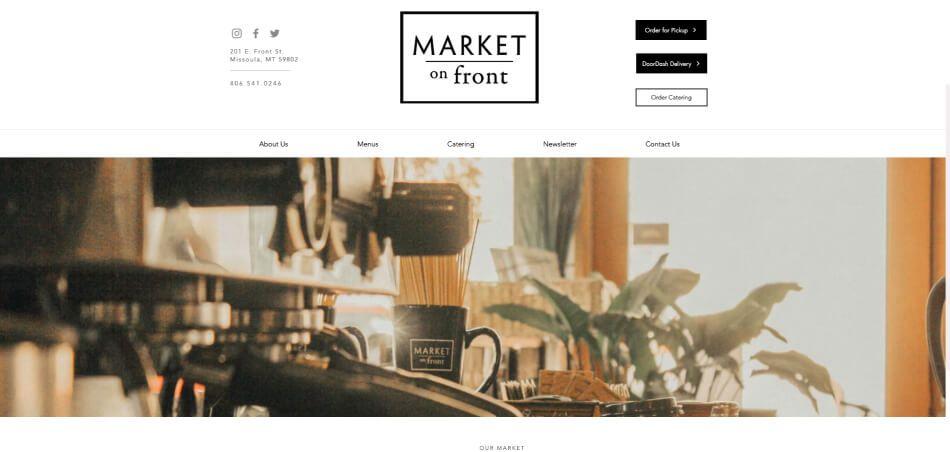 Wix restaurant website template example