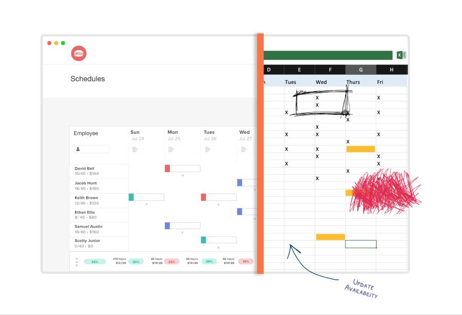 software versus spreadsheet schedule