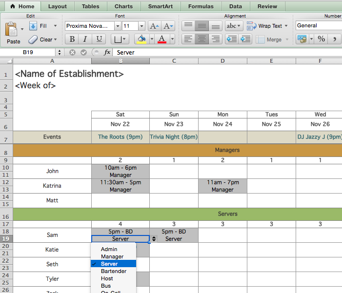 Restaurant Employee Scheduling Template For Excel Shifts - Labor schedule template